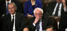 The Independent Senator for the State of Vermont, Bernie Sanders, during the State of the Union address by Donald Trump.