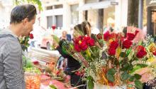 En Barcelona las calles se llenan hoy de puestos de rosas. Foto: Getty