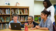 President Barack Obama views student projects created on laptops during a tour at Mooresville Middle School in Mooresville, N.C., June 6, 2013 (Official White House Photo by Pete Souza)
