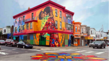 "Besty Casañas' ""Aqui, Se Respira Lucha"" mural from 2013 on Front Street between Allegheny and Westmoreland."