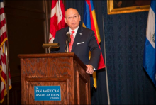 PAAP President Romy Diaz speaks on Pan America Day 2019. The annual awards held by the Pan American Association of Philadelphia luncheon was canceled this year because of COVID-19. Photo: Pan American Association of Philadelphia