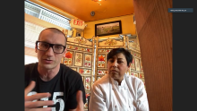 Benjamin Miller and Chef Cristina Martínez talked to Temple students and faculty on March 9, 2021. Screenshot: Nigel Thompson/AL DÍA News.