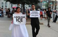 Linda Hernández visited the Abolish ICE encampment on her wedding day, prior to the city's decision to end the PARS contract with ICE. Photo: Courtesy of Juntos