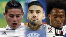 James Rodríguez, Radamel Falcao y Juan Cuadrado se enfrentarán en las finales de la UEFA a principio de Mayo. Fotos: EFE