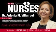 Dr. Antonia Villarruelis the advisory board chairfor the 2021 AL DÍA Top Nurses Forum & Awards event. Graphic: AL DÍA News.