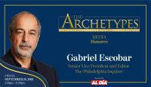 Gabriel Escobar, Philadelphia Inquirer Editor and Senior Vice President, will be a 2021 Ambassador Manuel Torres Award recipient. Graphic: Maybeth Peralta/AL DÍANews.