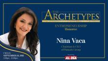 Nina Vaca, Pinnacle Group Founder, Chairman and CEO,will be a 2021 Ambassador Manuel Torres Award recipient. Graphic: Maybeth Peralta/AL DÍANews.