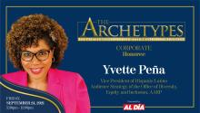 Yvette Peña,Vice President of Hispanic/Latino Audience Strategy in the Office of Diversity, Equity and Inclusion at AARP,will be a 2021 Ambassador Manuel Torres Award recipient. Graphic: Maybeth Peralta/AL DÍANews.