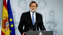 Spanish Prime Minister Mariano Rajoy addresses the media after a cabinet's meeting after a extraordinary plenary session where the application of Article 155 of the Spanish Constitution was approved, at La Moncloa palace in Madrid, Spain, Oct. 27, 2017. EPA-EFE/Juanjo Martin