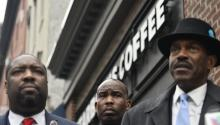 Community leaders and public officials appear at a press conference in front of a Starbucks coffee shop in downtown Philadelphia, United States, on Monday, April 16, 2018, two days after two black men were arrested at the facility. EFE / Bastiaan Slabbers