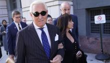 WASHINGTON, DC - NOVEMBER 15: Former advisor to U.S. President Donald Trump, Roger Stone, departs the E. Barrett Prettyman United States Courthouse with his wife Nydia after being found guilty of obstructing a congressional investigation into Russia's interference in the 2016 election on November 15, 2019 in Washington, DC. (Photo by Win McNamee/Getty Images)