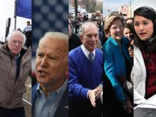 Left to right: Vermont Senator Bernie Sanders, former Vice President Joe Biden, former New York Mayor Mike Bloomberg, Massachusetts Senator Elizabeth Warren, Hawaii representative Tulsi Gabbard. Photos: Joe Raedle, Callaghan O'Hare, Chip Somodevilla/ Getty Images.