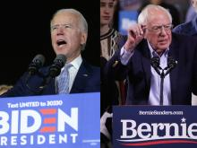 Democratic front-runners Joe Biden and Bernie Sanders speak to supporters on Super Tuesday. Photos: Mario Tama and Alex Wong/Getty Images.