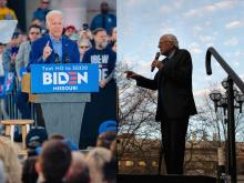 LEFT: Former Vice President Joe Biden speaks to supporters while campaigning in Kansas City, Missouri. RIGHT: Vermont Sen. Bernie Sanders speaks at a rally in Ann Arbor Michigan. Photos: Kyle Rivas (L), Brittany Greeson (R)/Getty Images.