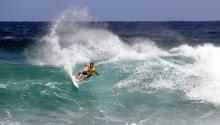 World Surf League shows Frederico Morais of Portugal winning his Round Four heat to advance to the Quarter Finals of the Hawaiian Pro, Haleiwa, Hawaii, USA on Tuesday November 18, 2016. EFE/EPA/KELLY CESTARI / HO