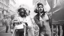 Marsha P. Johnson (left) and Sylvia Rivera march in New York City in 1973.Photo courtesy of Netflix