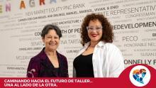 Carmen Febo San Miguel is passing Taller's torch to Nasheli Juliana Ortiz González. Photo: Taller Puertorriqueño