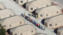 Tent camp for undocumented immigrant children, Tornillo, Texas. Photo: Vice News.