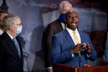 South Carolina Senator Tim Scott at a June 17 press conference announcing the Justice Act. Photo: Andrew Harnik/AP