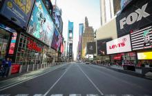 A virtually-empty Times Square on March 16, 2020. Photo: Tayfun Coskun/Getty Images.
