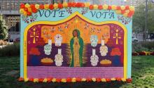 Candy Alexandra Gonzalez's mural on the power of the Latinx vote in 2020. Photo: Maritza Zuluaga/AL DÍA News