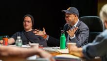 Far right, Rajendra Ramoon Maharaj at a rehearsal for the Ballad of Trayvon Martin. Photo courtesy of the Freedom Theatre.