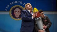 Cartoons of Donald Trump and Kim Jong-un in the carnival contest in Cadiz, Spain. EFE / Román Ríos