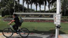 DORAL, FLORIDA - OCTOBER 17: A sign is seen near an entrance to the Trump National Doral golf resort owned by U.S. President Donald Trump's company on October 17, 2019 in Doral, Florida. White House chief of staff Mick Mulvaney announced today that the resort will host the Group of Seven meeting, between the United States, UK, France, Germany, Canada, Japan, Italy, and the EU, and will take place in June of 2020. (Photo by Joe Raedle/Getty Images)