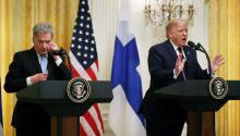 WASHINGTON, DC - OCTOBER 02: Finnish President Sauli Niinisto and U.S. President Donald Trump hold a joint news conference in the East Room of the White House October 02, 2019 in Washington, DC. (Photo by Chip Somodevilla/Getty Images)