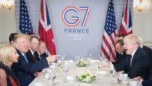 BIARRITZ, FRANCE - AUGUST 25: U.S. President Donald Trump and Britain's Prime Minister Boris Johnson attend a bilateral meeting during the G7 summit on August 25, 2019, in Biarritz, France. (Photo by Stefan Rousseau - Pool/Getty Images)