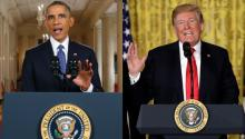 (Right) Former President Barack Obama. (Left) President Donald Trump. Both leaders have been questioned for their measures of detention and deportation of immigrants, but the facts have shown that they are not comparable.