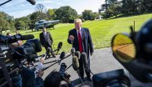 U.S. President Donald J. Trump speaks to the media before leaving for Houston, Texas, for a rally in support of Senator Ted Cruz today, Monday, October 22, 2018, from the White House in Washington, DC. EFE/Jim Lo Scalzo