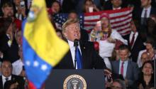 MIAMI, FLORIDA - FEBRUARY 18: President Donald Trump speaks during a rally at Florida International University on February 18, 2019, in Miami, Florida. President Trump talked about the ongoing crisis in Venezuela. (Photo by Joe Raedle/Getty Images)