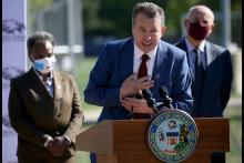 Pedro Martinez speaks during a news conference Sept. 15, 2021, at Benito Juarez Community Academy after being selected by Mayor Lori Lightfoot as the next CEO of Chicago Public Schools. Photo Credit: Antonio Perez/Chicago Tribune.