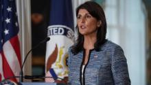 U.S. Ambassador Nikki Haley announces the withdrawal of the United States from the United Nations Human Rights Council at the State Department in Washington on Tuesday. | REUTERS