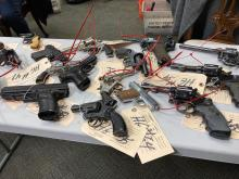 Some of the guns collected for disposal at previous gun buybacks in January and February. Photo courtesy: Philadelphia City Council.