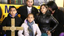 Photo taken Nov. 18 at West Kensington Ministry (from l. to r.) 11-year-old Arturo; 9-year-old Angela Mariana; Ermer Fernandez, Angela's husband; Angela Navarro, and her mother, María Turcios. Photo: Samantha Madera/AL DÍA News.