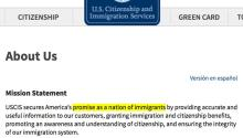 "Screenshot of the old presentation and mission of the US Citizenship and Immigration Services (USCIS), where it promised ""a nation of immigrants"", and that has radically changed to a closer approach to Trump's anti-immigrant mission. Source: The Intercept."