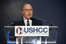 Newly named President of the U.S. Hispanic Chamber of Commerce Ramiro Cavazos speaks during the organization's National Convention in Philadelphia. (Peter Fitzpatrick / AL DÍA News)