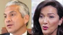 Javier Palomarez (I), ex CEO de la USHCC, y Nina Vaca (D), del Dallas's Pinnacle Group.