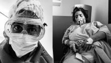 En las imágenes, un enfermero con E.P.I y Silvia Soler ingresada en el hospital.Cortesía del fotógrafo Bóreas Talens Soler.