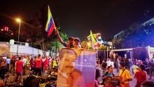 Simpatizantes del gobierno deVenezuelacelebran los resultados de las eleccioneseldomingo 20 de mayo de 2018, en Caracas (Venezuela).EFE/Edwinge Montilva