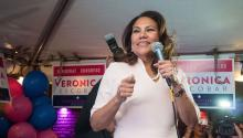 The candidate Verónica Escobar during a speech in the Texas primary elections. Photo courtesy of her campaign.