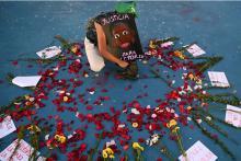 Altar in tribute to Victoria Salazar in Tulum. Photo Marvin Recinos / AFP.