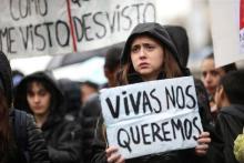 File photo of a demonstration against gender violence.