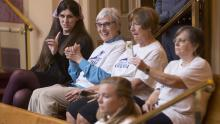 Rep. Danica Roem (D-Prince William) sits with supporters of Medicaid expansion during Wednesday's vote. Steve Helber/AP
