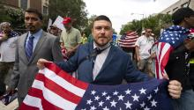 White supremacist Jason Kessler and members of the extreme right march to the White House on the anniversary of the 'Unite the Right' rally in Washington on August 12, 2018. EFE/EPA/JIM LO SCALZO