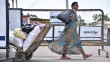 PARAGUACHON, COLOMBIA - JUNE 9: A Wayuu indigenous woman crosses the border between Colombia and Venezuela on June 9, 2019, in Paraguachon, Colombia. (Photo by Guillermo Legaria/Getty Images)