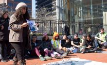 11 immigrant youth and activists held a rally at the Liberty Bell in Philadelphia on Feb. 20. The activists walked250 miles from New York City to Washington, D.C. to raise awareness and call on Congress to pass a clean Dream Act. Photo: Emily Neil / AL DÍA News