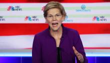 MIAMI, FLORIDA - JUNE 26: Sen. Elizabeth Warren (D-MA) speaks during the first night of the Democratic presidential debate on June 26, 2019, in Miami, Florida. (Photo by Joe Raedle/Getty Images)